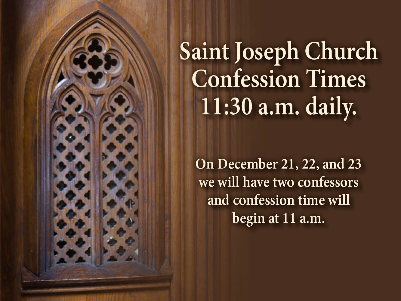 Confession Times Advent 2017